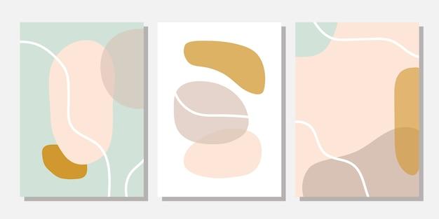 Moderne vorlagen mit abstrakten formen in pastellfarben. Premium Vektoren
