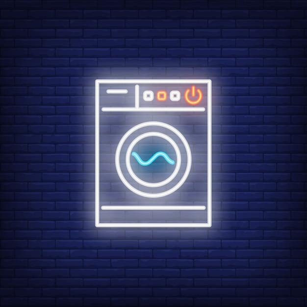 Moderne waschmaschine leuchtreklame Kostenlosen Vektoren