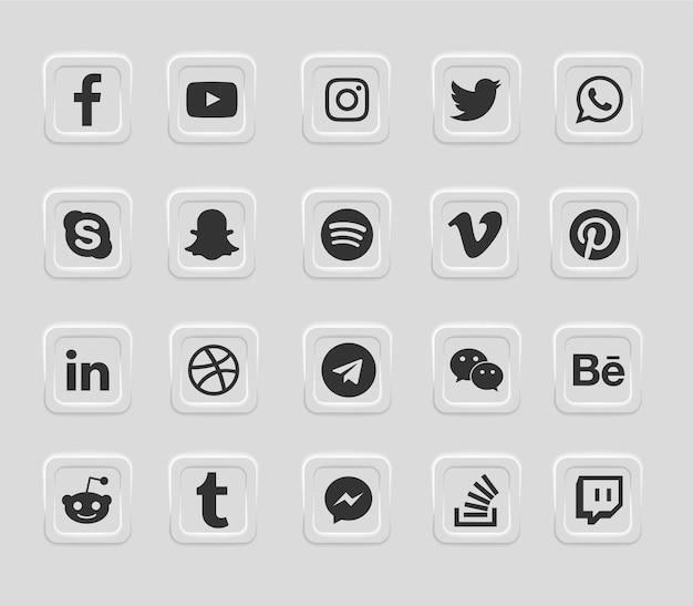 Moderne webikonen der sozialen medien eingestellt Premium Vektoren