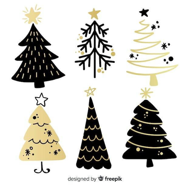 Moderne weihnachtsbaumansammlung mit abstrakter art Kostenlosen Vektoren