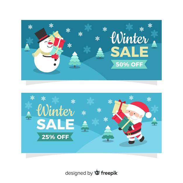 Moderne winterschlussverkauf-banner Kostenlosen Vektoren