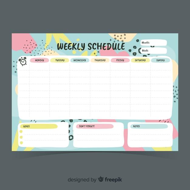 Moderne wöchentliche planer vorlage mit flachen design Kostenlosen Vektoren