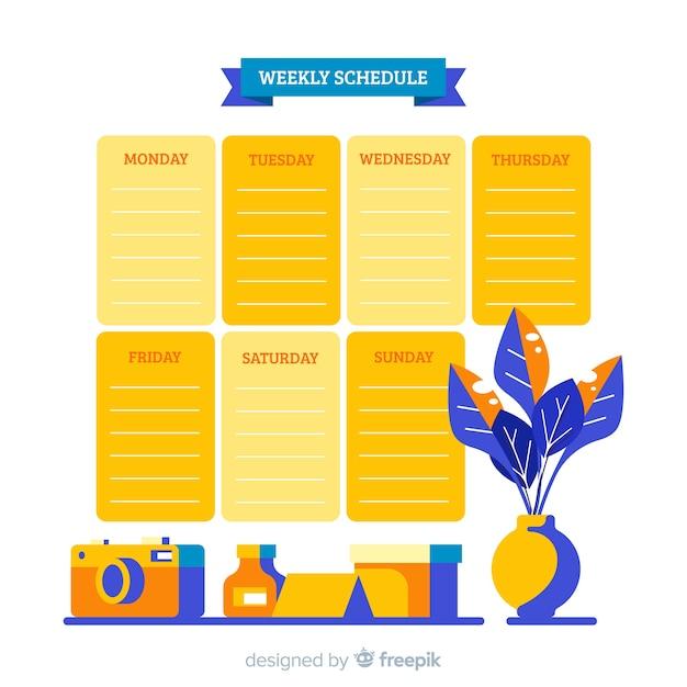 Moderne wöchentliche zeitplanvorlage mit flachem design Kostenlosen Vektoren