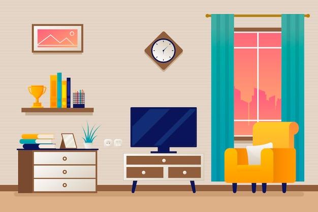 Moderne wohnkultur für videokonferenzen Premium Vektoren