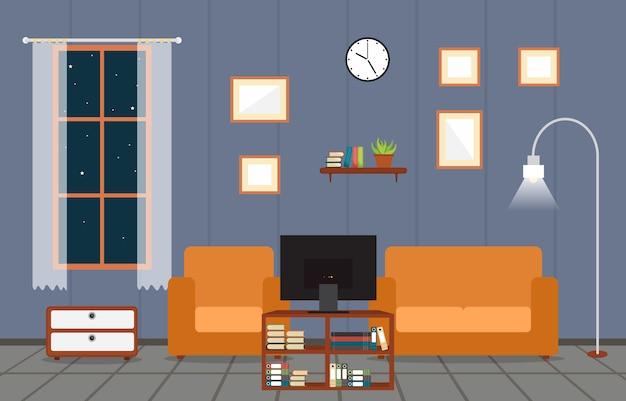 Moderne wohnzimmer-familienhaus-innenmöbel-vektor-illustration Premium Vektoren