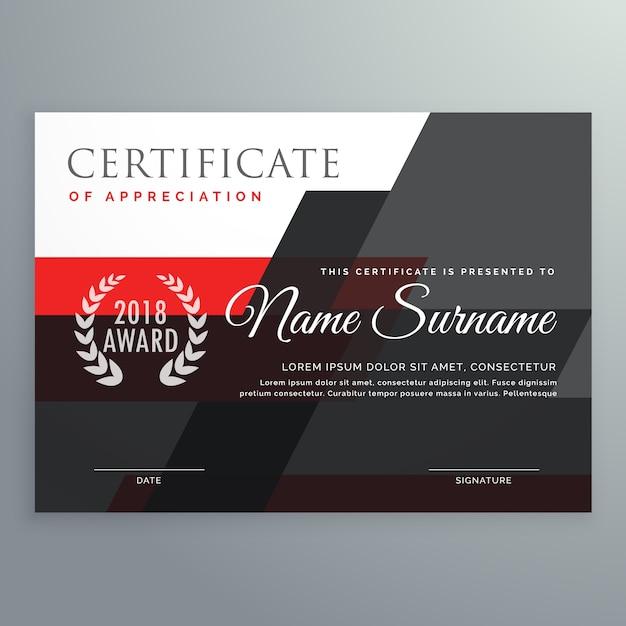 Moderne zertifikatvorlage design mit geometrischen roten und schwarzen formen Kostenlosen Vektoren