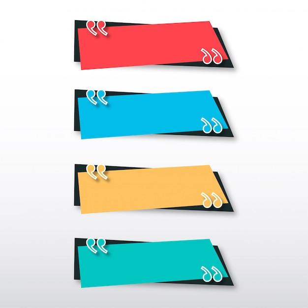 Moderne zitat-fahnen-schablone mit buntem design Kostenlosen Vektoren