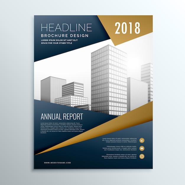 Modernen dunklen business-flyer broschüre design-vorlage vektor mit geometrischen form Kostenlosen Vektoren
