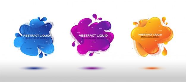Moderner abstrakter dynamischer flüssiger flüssigkeitssatz Premium Vektoren