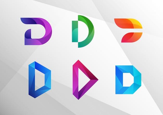 Moderner abstrakter farbverlauf d logo set Premium Vektoren