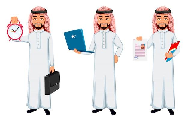 Moderner arabischer geschäftsmann Premium Vektoren