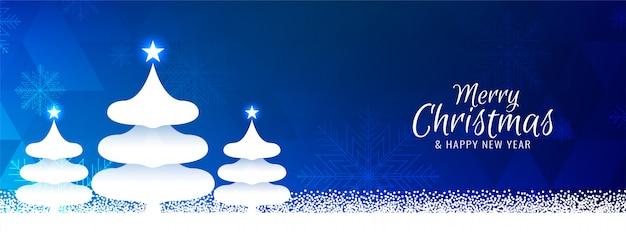 Moderner blauer fahnenhintergrund der frohen weihnachten Kostenlosen Vektoren