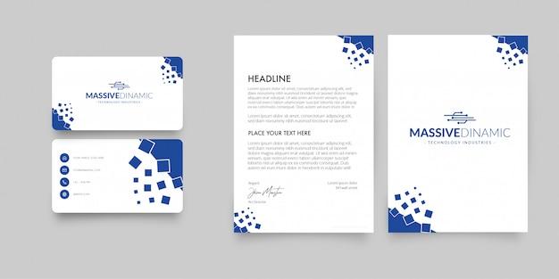 Moderner briefkopf und visitenkarte mit abstrakten formen Kostenlosen Vektoren