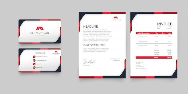 Moderner briefpapier-satz mit roter form-schablone Kostenlosen Vektoren