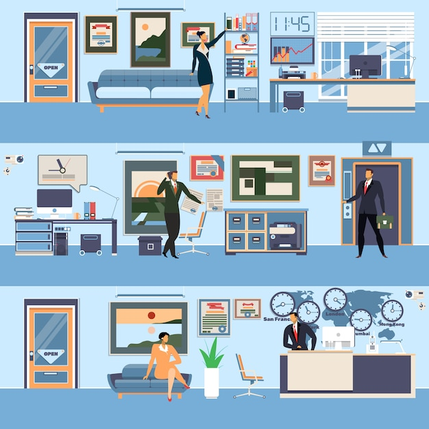 Moderner büroarbeitsplatz des vektors eingestellt in flache art Premium Vektoren