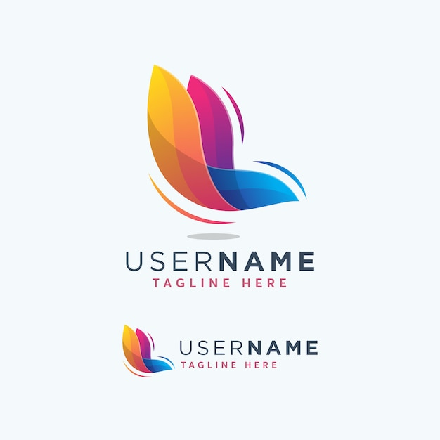 Moderner bunter schmetterling logo design template Premium Vektoren