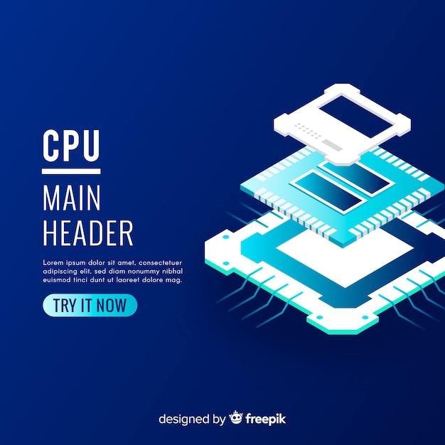 Moderner cpu-hintergrund mit isometrischer perspektive Kostenlosen Vektoren