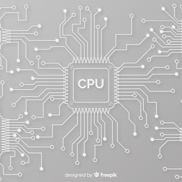 Moderner cpu-hintergrund mit linearer art Kostenlosen Vektoren