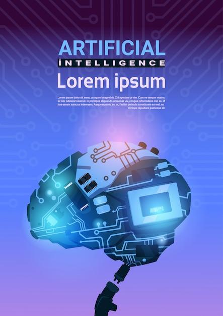 Moderner cyborg brain mechanism über stromkreis-motherboard-hintergrund-vertikale fahne mit kopienraum Premium Vektoren