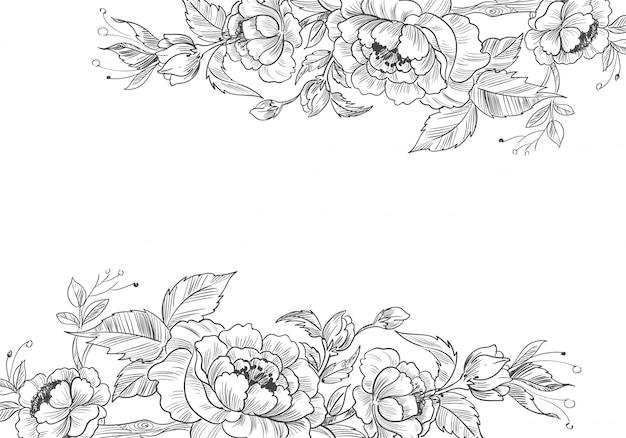 Moderner dekorativer blumenhintergrund mit skizzenhaftem stil Kostenlosen Vektoren