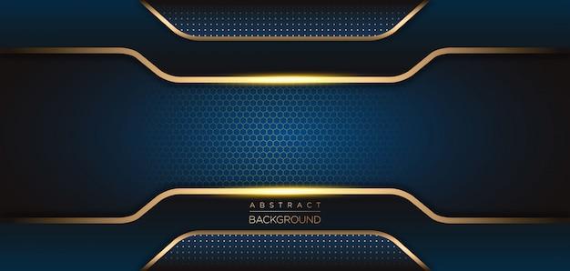 Moderner dunkelblauer hintergrund mit abstrakter form Premium Vektoren