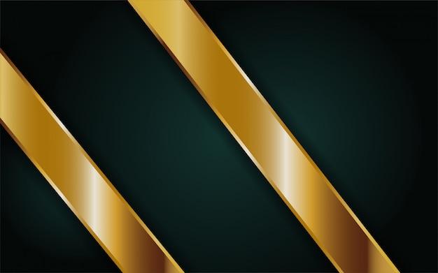 Moderner dunkelgrüner abstrakter hintergrund mit goldener linie Premium Vektoren