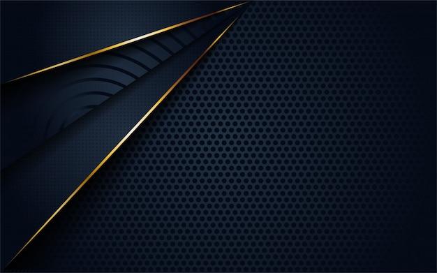 Moderner dunkler hintergrund der zusammenfassung 3d mit kreis- und goldener linie form. Premium Vektoren