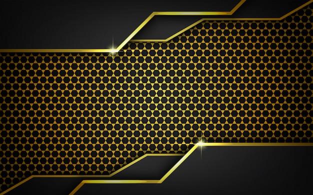 Moderner dunkler hintergrund mit dem goldmuster geometrisch Premium Vektoren