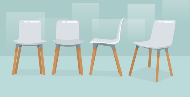 Moderner einzelner stuhl vier ansichten Premium Vektoren