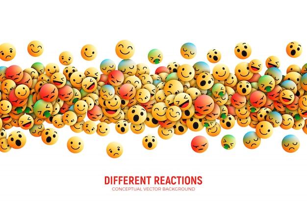 Moderner facebook emoji-zusammenfassungs-hintergrund Premium Vektoren