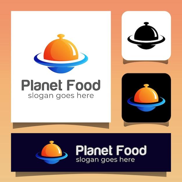 Moderner farbplanet mit food-restaurant-logo Premium Vektoren