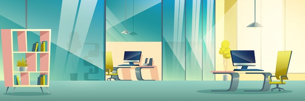 Moderner firmenbüro-karikaturinnenraum Kostenlosen Vektoren