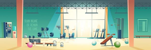 Moderner fitnessclub-turnhallenkarikatur-vektorinnenraum Kostenlosen Vektoren