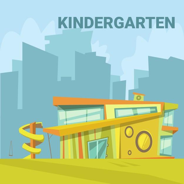 Moderner gebäudehintergrund des kindergartens in einer stadt mit einem dia für kinderkarikatur-vektor illustrat Kostenlosen Vektoren
