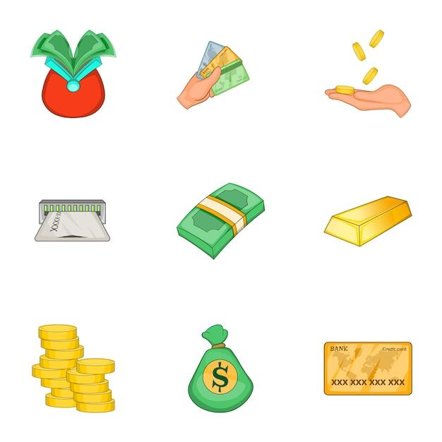 Moderner geld- und finanzsatz, karikaturart Premium Vektoren