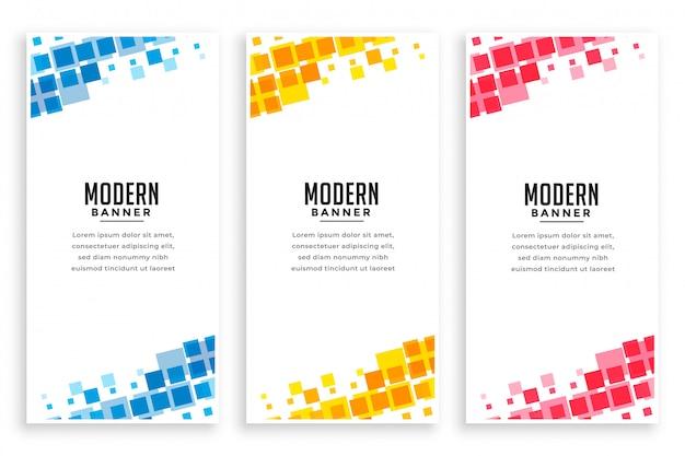 Moderner geschäftsart-mosaikfahnensatz Kostenlosen Vektoren