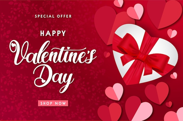 Moderner glücklicher valentinstag-verkauf mit realistischem geschenk Kostenlosen Vektoren