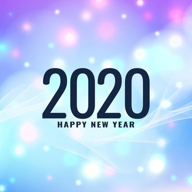 Moderner gruß des neuen jahres 2020 Kostenlosen Vektoren