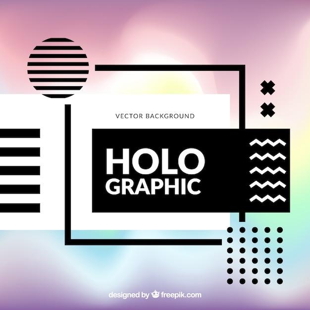 Moderner hintergrund mit geometrischen formen und holographischen effekt Kostenlosen Vektoren