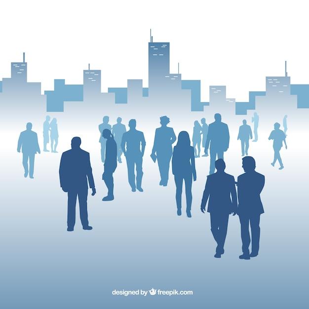 Moderner hintergrund mit profis und gebäuden Kostenlosen Vektoren