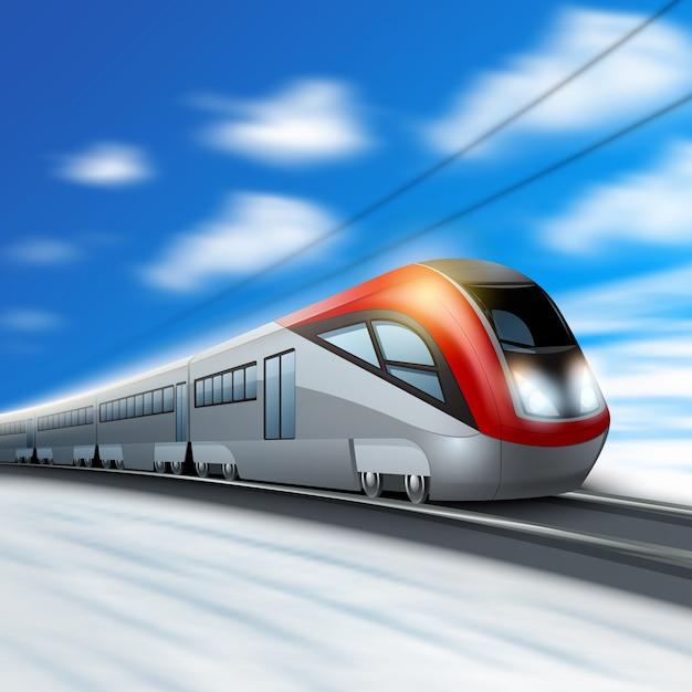 Moderner hochgeschwindigkeitszug in bewegung Premium Vektoren