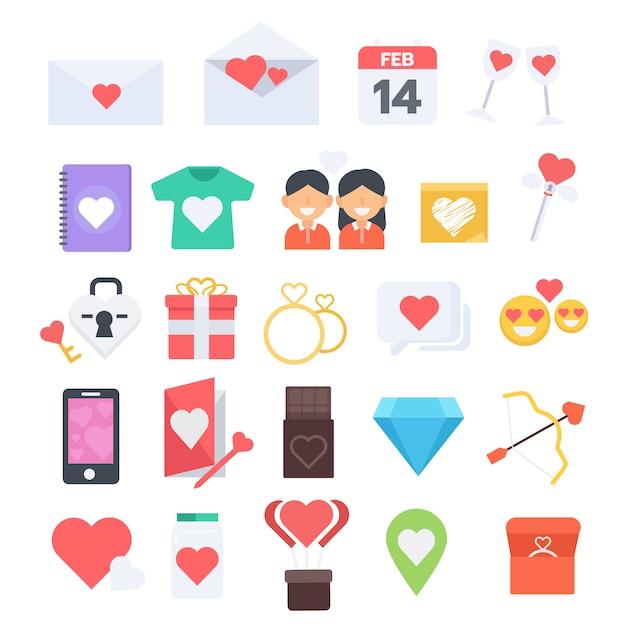 Moderner ikonensatz des flachen designs des valentinstags Premium Vektoren