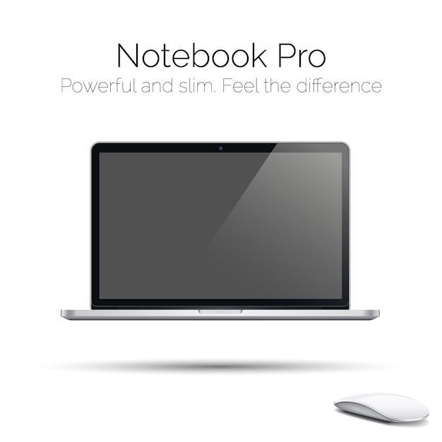Moderner in hohem grade ausführlicher glatter laptop Premium Vektoren
