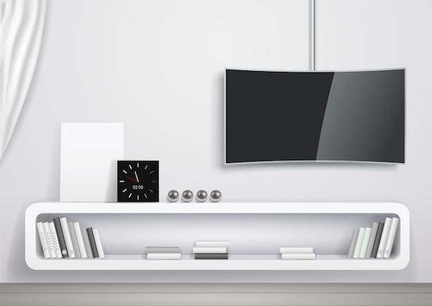 Moderner innenraum des wohnzimmers Premium Vektoren