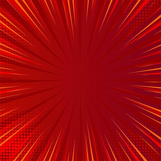 Moderner komischer roter hintergrund mit explodierenden strahlen Kostenlosen Vektoren