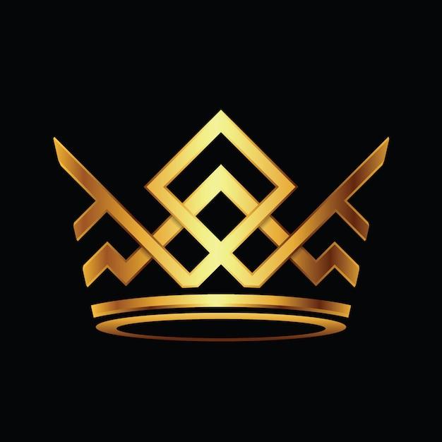 Moderner kronen-logo royal king queen-zusammenfassungs-logovektor Premium Vektoren