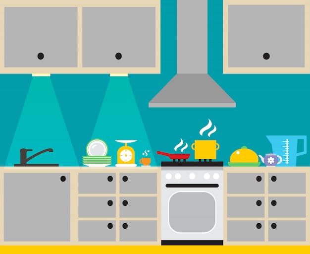 Moderner kücheninnenraum mit möbel- und haushaltsgerätplakat vector illustration Kostenlosen Vektoren