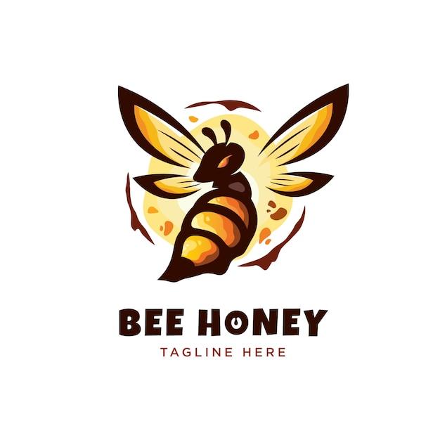 Moderner minimalismus ausführliches bienen-honig-logo Premium Vektoren