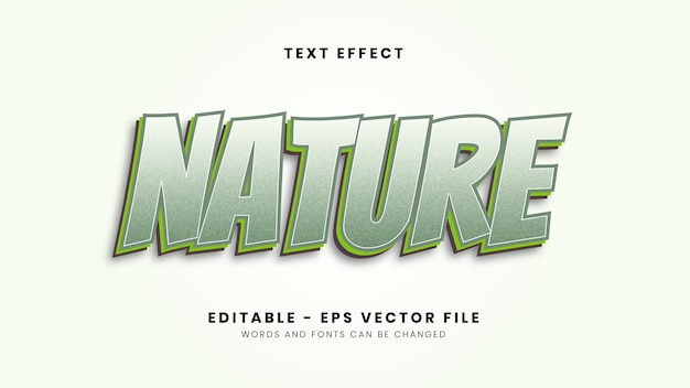 Moderner nature-schrifteffekt Premium Vektoren