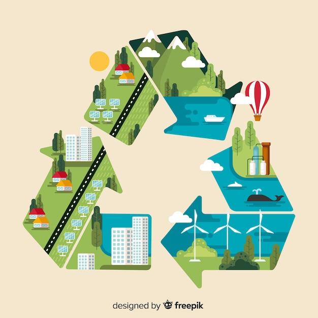 Moderner naturhintergrund mit ökologiekonzept Kostenlosen Vektoren